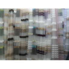 Тюль фатин с цветными полосами (3-х цветная)