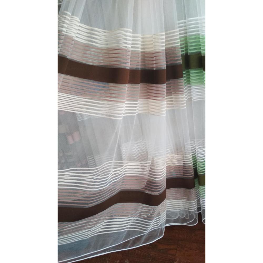 Тюль фатин цветная полоска 3-х цветная