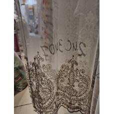 Тюль фатин с кордовой вышивкой по низу коричневая