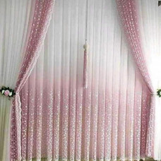 Тюль фатин омбре розовая