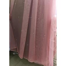 Тюль фатин омбре розовая с бусинами