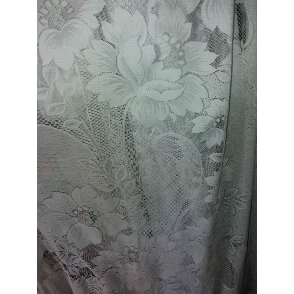 Жаккард тюль Lila белая с цветами